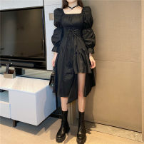Dress Autumn 2020 White, black S,M,L Middle-skirt singleton  Long sleeves commute square neck High waist Solid color A-line skirt Others 18-24 years old Type A Korean version
