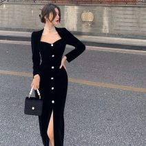 Dress Winter 2020 black S, M Mid length dress singleton  Long sleeves commute V-neck High waist Solid color Socket One pace skirt routine 18-24 years old Type A Britain C1130