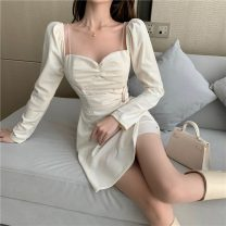 Dress Winter 2020 White, black S, M Short skirt singleton  Long sleeves commute V-neck High waist Solid color Socket Irregular skirt routine Others 18-24 years old Type A Korean version fold A1219