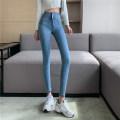 Jeans Spring 2021 blue S,M,L Ninth pants High waist Pencil pants routine 18-24 years old Cotton elastic denim light colour A0319 51% (inclusive) - 70% (inclusive)