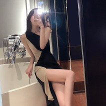 Dress Spring 2020 black S,M,L Short skirt singleton  Sleeveless V-neck High waist Solid color Socket One pace skirt camisole 18-24 years old Other / other six point two three