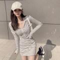 Dress Summer 2021 Black, striped Average size Short skirt singleton  Long sleeves commute Hood High waist stripe Socket A-line skirt routine 18-24 years old Type A Korean version C0328