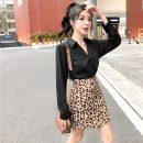 Fashion suit Autumn 2020 S,M,L,XL White top, black top, apricot leopard skirt, khaki leopard skirt, white + apricot skirt, black + Khaki Skirt 18-25 years old