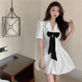 Dress Spring 2021 White, black S,M,L Short skirt singleton  Short sleeve commute tailored collar High waist Solid color A-line skirt puff sleeve Others 18-24 years old Type A Button D0408 31% (inclusive) - 50% (inclusive) other