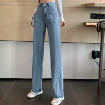 Jeans Spring 2021 blue S,M,L trousers High waist Straight pants routine 18-24 years old other light colour #0123 81% (inclusive) - 90% (inclusive)