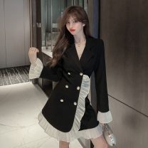 Dress Autumn 2020 black S,M,L Short skirt singleton  Long sleeves commute tailored collar High waist double-breasted A-line skirt pagoda sleeve 18-24 years old Type A literature