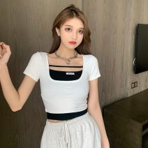 T-shirt White, black Average size Summer 2021 Short sleeve square neck Fake two pieces have cash less than that is registered in the accounts routine commute cotton 71% (inclusive) - 85% (inclusive) 18-24 years old Korean version Splicing A0319 Splicing