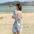 Dress Summer 2021 Blue, pink S,M,L Short skirt singleton  Short sleeve commute V-neck High waist Socket A-line skirt puff sleeve 18-24 years old Type A Korean version Bow tie, lace up, open back C0329