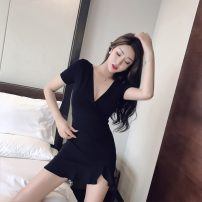 Dress Summer of 2019 Red, black S,M,L,XL,2XL Short skirt singleton  Short sleeve commute V-neck High waist Decor Socket Ruffle Skirt camisole 18-24 years old Type A Other / other Korean version #1116 31% (inclusive) - 50% (inclusive) cotton