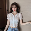 Lace / Chiffon Summer 2021 White, black Average size Short sleeve commute Socket singleton  Self cultivation Super short Polo collar Solid color routine 18-24 years old b0404 Lace Korean version 71% (inclusive) - 80% (inclusive) polyester fiber