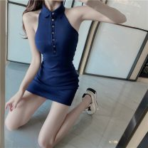 Dress Summer 2020 white S, M Short skirt singleton  Sleeveless commute Polo collar High waist Solid color Single breasted One pace skirt Hanging neck style 18-24 years old Type H Korean version Button