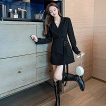 Dress Autumn 2020 Apricot, black S,M,L,XL Short skirt singleton  Long sleeves commute Polo collar High waist Solid color double-breasted A-line skirt routine Others 18-24 years old Type A Korean version Button, strap polyester fiber