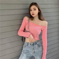 T-shirt White, blue, black, pink Average size Autumn 2020 Long sleeves One word collar Self cultivation Regular commute acrylic fibres 31% (inclusive) - 50% (inclusive) 18-24 years old Korean version Solid color