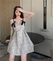 Dress Summer 2021 Picture color S, M Short skirt singleton  Sleeveless commute other High waist Decor Socket A-line skirt camisole 18-24 years old Type A Retro printing A0403