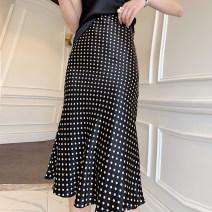 skirt Summer of 2019 S,M,L,XL black Mid length dress Versatile High waist A-line skirt Dot Type A XT  XiToou