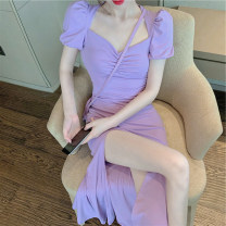 Dress Summer 2021 Purple, green S,M,L,XL Mid length dress singleton  Short sleeve commute V-neck High waist zipper other puff sleeve Others Type A Ol style