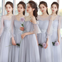 Dress / evening wear Performance, party, company annual meeting, adulthood, routine, date, wedding Average size (80-120 kg), large size (115-135 kg), plus size (130-160 kg) Korean version Medium length Elastic waist Summer 2021 Self cultivation One shoulder zipper Netting 26-35 years old 21 five