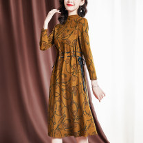 Middle aged and old women's wear Spring 2021 Ginger  M L XL 2XL commute Dress Self cultivation singleton  Decor 40-49 years old Socket Crew neck Medium length routine 1001-82093069 Sgediya / Santa Cordia Bandage polyester Polyester fiber 56.9% regenerated cellulose fiber 43.1% Middle-skirt Polyester