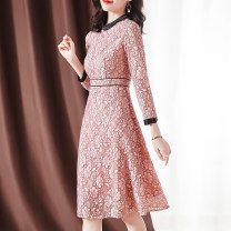Dress Spring 2021 Pink M L XL 2XL 3XL longuette singleton  Long sleeves commute Crew neck middle-waisted Decor Socket A-line skirt routine 30-34 years old Type A Sgediya / Santa Cordia Button zipper lace 31% (inclusive) - 50% (inclusive) Lace cotton Pure e-commerce (online only)