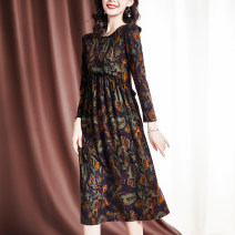Dress Spring 2021 Decor M L XL 2XL Mid length dress singleton  Long sleeves commute Crew neck middle-waisted Decor Single breasted A-line skirt routine Others 35-39 years old Sgediya / Santa Cordia Korean version Button print with auricular stitching 1001-82093919 51% (inclusive) - 70% (inclusive)