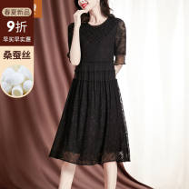 Dress Summer 2021 black M L XL 2XL longuette singleton  elbow sleeve commute Crew neck middle-waisted Solid color Socket A-line skirt routine 35-39 years old Type A Sgediya / Santa Cordia Korean version Embroidered button net lace 1001-82193019 More than 95% Lace silk Mulberry silk 100%
