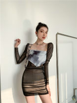 Dress Spring 2021 black S,M,L Short skirt singleton  Long sleeves Sweet square neck High waist 18-24 years old 81% (inclusive) - 90% (inclusive) Mori