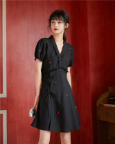 Dress Summer 2020 black XS,S,M Short skirt singleton  Short sleeve commute V-neck High waist Solid color Socket A-line skirt puff sleeve Others 18-24 years old Type X 8519# More than 95% other polyester fiber