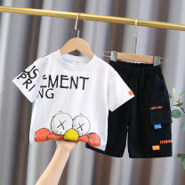 suit Other / other Black, white, blue 90cm,100cm,110cm,120cm,130cm,140cm male summer Korean version Short sleeve + pants 2 pieces Thin money No model Socket nothing Solid color Cotton blended fabric elder Expression of love Class B Cotton 95% other 5% Chinese Mainland Zhejiang Province Huzhou City