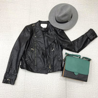 leather clothing Spring 2018 Burgundy Grey Black S M L XL Omaya Short paragraph Self-cultivation Long sleeve zipper street Round neck other seven hundred and thirty-four million fourteen thousand six hundred and six zipper 18-24 years old PU 91% (inclusive) - 95% (inclusive)