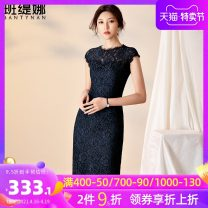 Dress Summer 2020 Navy Blue S M L XL 2XL 3XL Mid length dress singleton  Sleeveless commute Crew neck middle-waisted Solid color zipper A-line skirt 30-34 years old Bantynan / bantina Simplicity 51% (inclusive) - 70% (inclusive) Lace cotton Pure e-commerce (online only)