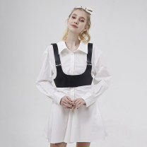 Dress Summer 2021 White dress XS,S,M,L,XL Short skirt singleton  Long sleeves commute other High waist Solid color Socket other routine Others Type A Simplicity More than 95% other cotton