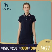 Dress Spring 2020 Navy Pink 160/84A 165/88A 170/92A Mid length dress singleton  Short sleeve commute Polo collar middle-waisted other Socket other routine Others 25-29 years old Hazzys Britain 91% (inclusive) - 95% (inclusive) cotton Cotton 92.1% polyurethane elastic fiber (spandex) 7.9%