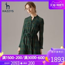 Dress Autumn of 2019 green 155/80A 160/84A 165/88A 170/92A Mid length dress singleton  Long sleeves commute other middle-waisted lattice Single breasted other other Others 25-29 years old Hazzys Britain AQWSC09CC08 51% (inclusive) - 70% (inclusive) other polyester fiber Polyester 63.7% viscose 36.3%