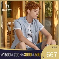 shirt Youth fashion Hazzys 170/92A 175/96A 180/100A 185/104A 190/108A 190/112A Blue red routine Button collar Short sleeve easy Other leisure summer ATCZK10BK58a youth Cotton 100% tide 2021 stripe Spring 2021 other cotton other Same model in shopping mall (sold online and offline)