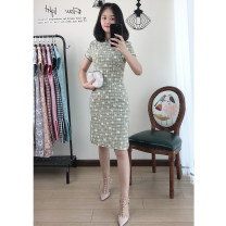cheongsam Summer 2020 S,M,L,XL,2XL,3XL,4XL Light green Short sleeve Short cheongsam Retro Low slit daily Oblique lapel Decor 25-35 years old Piping Beautiful clothes cotton 51% (inclusive) - 70% (inclusive)