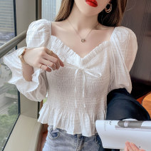 Women's large Spring 2021 Large XL, large L, s, M commute Self cultivation Long sleeves Solid color Korean version square neck routine puff sleeve 18-24 years old Bright silk 96% and above zipper