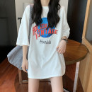 T-shirt white S,M,L,XL,2XL Summer 2021 Short sleeve Crew neck easy Medium length routine commute cotton 96% and above 18-24 years old Korean version originality Geometric patterns, letters printing