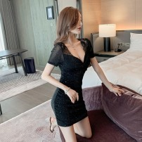 Dress Summer 2020 black L,S,M,XL Short skirt singleton  Short sleeve commute V-neck middle-waisted Solid color Socket One pace skirt routine Others Type H Korean version Hollow, bright silk, gauze net other