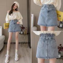 skirt Spring 2021 S,M,L,XL blue Short skirt commute High waist Denim skirt Solid color Type A 18-24 years old AJ186 51% (inclusive) - 70% (inclusive) Denim Other / other other Korean version