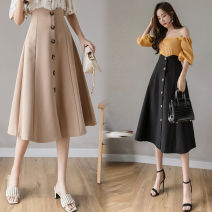 skirt Spring 2021 S,M,L,XL,2XL,3XL,4XL,5XL Black, khaki, apricot commute High waist Umbrella skirt Solid color Type A 18-24 years old QA1081 51% (inclusive) - 70% (inclusive) knitting Other / other Viscose Button, zipper, resin fixation Korean version