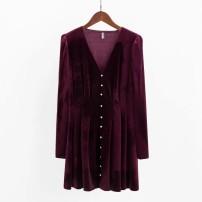 Dress Spring 2020 S,M,L,XL Short skirt singleton  Long sleeves street V-neck 18-24 years old Europe and America