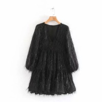Dress Autumn of 2019 Black as the picture, pink as the picture, white as the picture XS,S,M,L Short skirt singleton  Long sleeves street V-neck 18-24 years old Europe and America