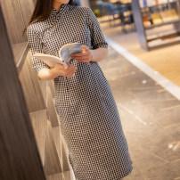 cheongsam Summer 2020 XXL,S,M,L,XL black Short sleeve Single cheongsam Retro Low slit daily Oblique lapel lattice Piping Yu Xiang cotton 96% and above