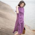 cheongsam Summer of 2019 S (for net waist 1.8-2 feet), m (for net waist 2.1-2.2 feet), l (for net waist 2.3-2.4 feet) Sapphire blue, rose red, deep purple Short sleeve Single cheongsam literature Low slit daily Oblique lapel Solid color Piping Yu Xiang hemp 96% and above