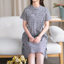 cheongsam Summer 2020 S,M,L,XL Black and white check Short sleeve Single cheongsam literature Low slit daily Oblique lapel lattice Yu Xiang cotton 96% and above