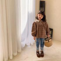 shirt Caffeinated Xiaoge UTOUTO female 80cm, 90cm, 100cm, 120cm, 130cm, 140cm, 110cm (model try on) spring and autumn Long sleeves Korean version lattice cotton Lapel crew neck