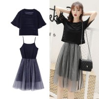 Dress Summer of 2019 Black, light blue S [recommended 75-90 Jin], m [recommended 90-100 Jin], l [recommended 100-115 Jin], XL [recommended 115-125 Jin], 2XL [recommended 125-135 Jin], 3XL [recommended 135-150 Jin], 4XL [recommended 150-170 Jin] Mid length dress Two piece set Short sleeve Sweet Socket