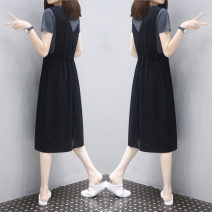 Dress Summer 2021 Black skirt + Short Sleeve White T, white grey + short sleeve grey t S,M,L,XL,2XL,3XL longuette Two piece set commute Crew neck Elastic waist Solid color Socket A-line skirt routine Others Type A JQSD Korean version Pleats, pockets, stitching brocade cotton