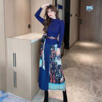 Dress Spring 2021 Dark blue, black S,M,L Mid length dress Fake two pieces Long sleeves commute Crew neck middle-waisted Decor Socket A-line skirt other Others 25-29 years old Type A lady Printing, splicing