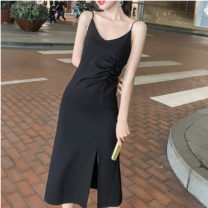 Dress Summer 2021 Black temperament XS S M L XL XXL XXXL XXXXL longuette singleton  Sleeveless commute V-neck High waist Solid color Socket One pace skirt routine camisole 25-29 years old Type H Duohao backless More than 95% polyester fiber Polyethylene terephthalate (polyester) 100%